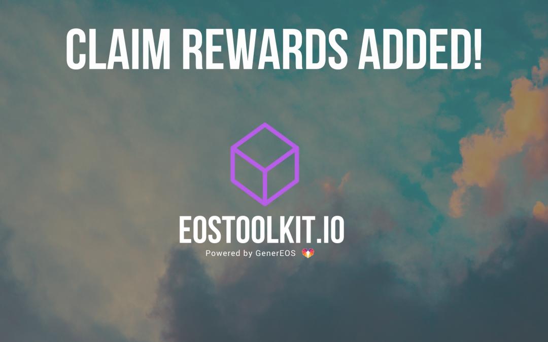 EOSToolkit.io – Block Producer Claim Rewards Added