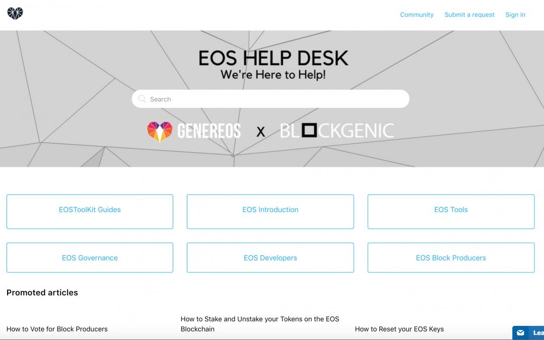 EOS Help Desk – GenerEOS x Blockgenic