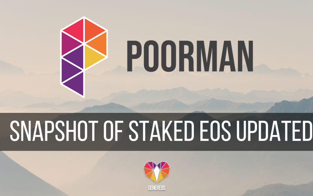 GenerEOS snapshots Staked EOS Tokens!